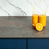 Solid laminate Zenith worktops are a lower-cost alternative to stone surfaces.