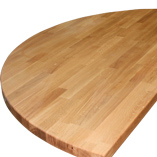 A prime oak breakfast bar worktop cut into an half-ellipse with a soft profile edge.