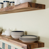 Complement solid walnut worktops with our matching walnut floating shelves.