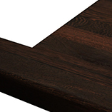 Wenge worktop with pencil edge profile and overmounted sink cut out.