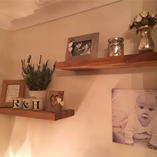 Our sturdy solid oak floating shelves are perfect for keeping your most treasured memories upon.