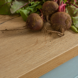 Our stylish rustic oak laminate worktops look just like the real thing, featuring an attractive full stave effect.