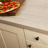 These stylish worktops look just like oak that has been limed or whitewashed, for a gently worn effect