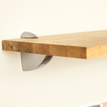 We sell a range of brackets to support our oak wall shelves, including this attractive 'pelican