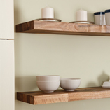Walnut is a beautiful hardwood, and an elegant choice for floating solid wood shelves in modern or traditional kitchens.