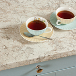 White granite laminate worktops provide a luxurious backdrop that is a highly-affordable alternative to real granite.