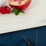 This white marble solid laminate worktop offers you a low-maintenance and hygienic option for your kitchen.