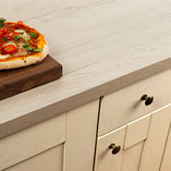 This white oak effect laminate worktop features a textured surface, to enhance the timber look