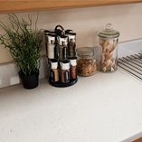 You can achieve this stunning look with our White Sparkle worktops