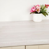 The 3mm post-form profile of our white wood laminate worktops gives them a softer look.