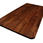 Black american walnut worktop with 50mm radius corner