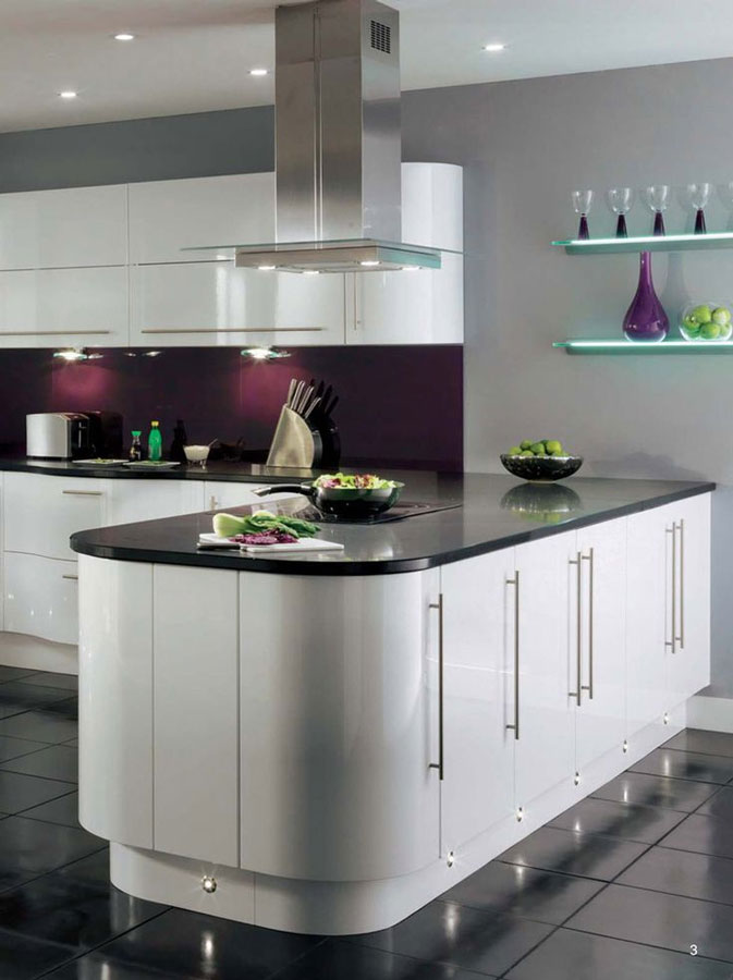 Top 3 colour schemes to complement a black sparkle kitchen for White gloss kitchen wall cupboards
