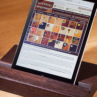 Reading a recipe on your phone or tablet? Keep it propped up with one of our beautiful hardwood tablet stands.