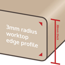 3mm edge profiles are often applied to laminate worktops with a matt finish.