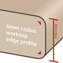 6mm edge profiles are more suited to worktops with a glossy finish.