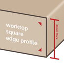 Square edge profiles are seen as a stylistic choice, and often appear on wood-effect worktops.