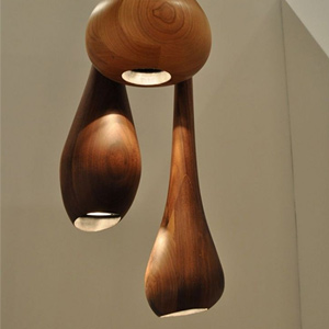 Wacky Lamps light up wooden workbenches with wacky wood light fixtures