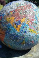 Mosaic globe in Southall Park solid wood worktops.