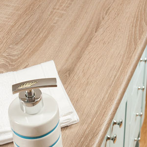 Our new range of laminate worktops for bathrooms features a variety of styles to suit any bathroom design