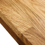Oak worktop with chamfered top edge profile