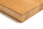 A pencil edge profile on both the top and bottom edge of the wooden worktop