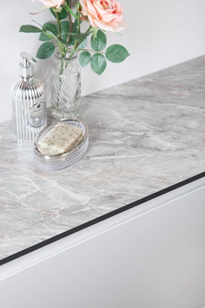 Grey marble bathroom worktop