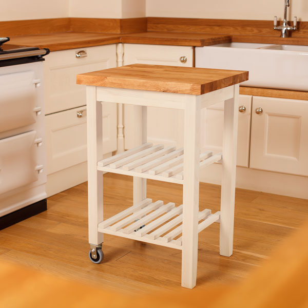 White Kitchen Wood Worktop: White Kitchen Trolley With Oak Worktop & White Butchers