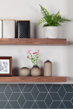 Finest Quality Narrow Stave Black American Walnut Shelving