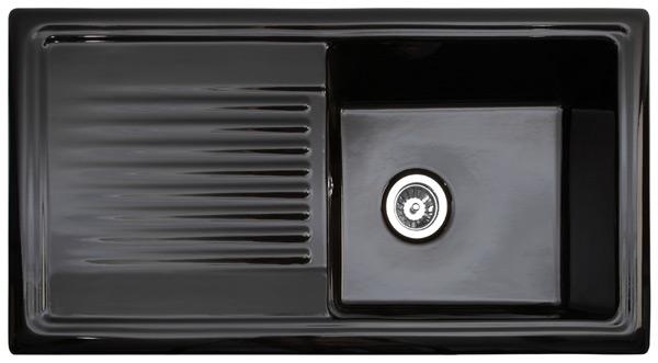 Reginox Black Ceramic Sink With Drainer Single Bowl