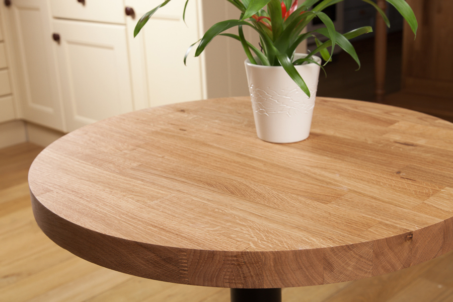 Solid oak restaurant tabletop round 40mm for Html table th always on top