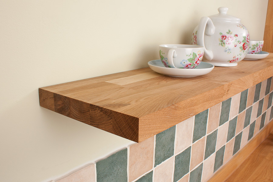 Solid Oak Floating Shelf 1200mm x 200mm x 30mm, Slimline ...