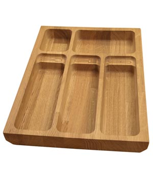 Solid Oak Cutlery Drawer Insert - W310mm X 420mm X 40mm