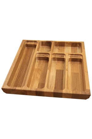 Solid oak w410mm cutlery drawer insert