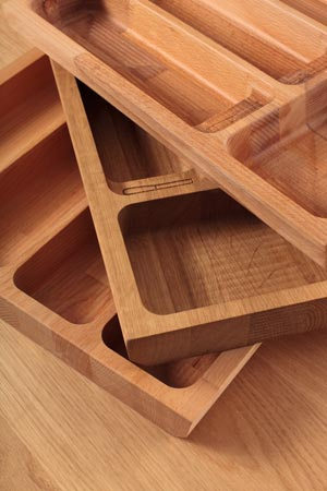 Solid wood hand finished cutlery drawer inserts