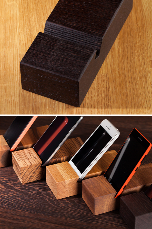 Solid Wood Iphone Stands Mobile Phone Holders Worktop