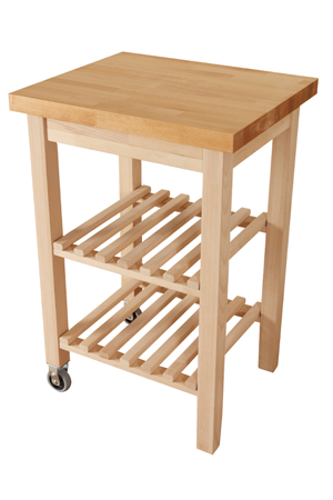 Wooden Kitchen Trolley with Beech Worktop