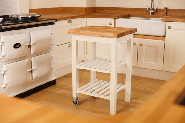 White Kitchen Trolley With Oak Worktop White Butchers