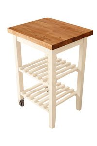 White Kitchen Trolley with Oak Worktop