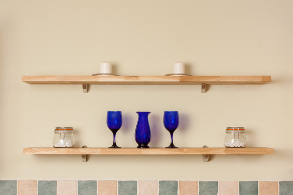 Oak wall mounted shelf