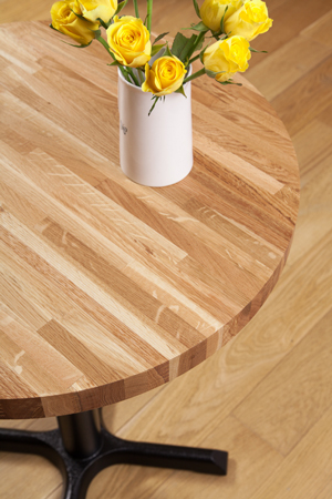 Solid Oak Restaurant Tabletop Round D620mm x 40mm (20mm Stave)