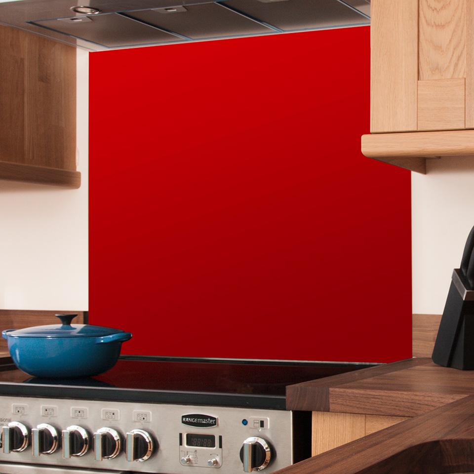 Kitchen Worktops Express: Red Glass Splashbacks