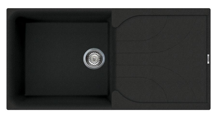 Reginox Black Quartz Sink With Drainer Single Bowl