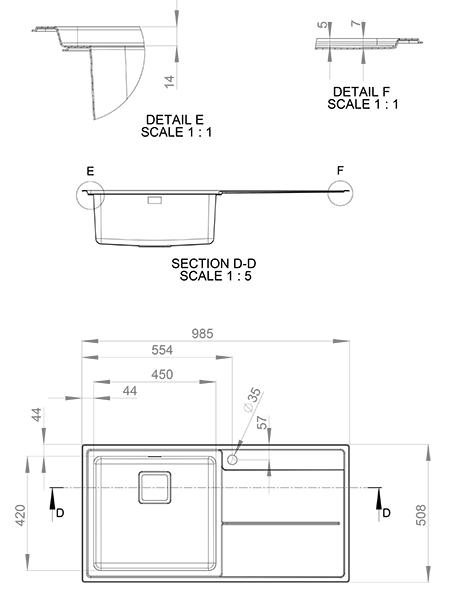 Kitchen Sink Specifications Rangemaster arlington square kitchen sink single bowl rh drainer sink specification workwithnaturefo