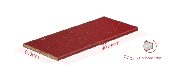 Red Sparkle Work Surface Dimensions