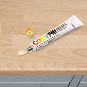Repairing chips in a laminate worktop is relatively easy if a colour-matched paste is used.