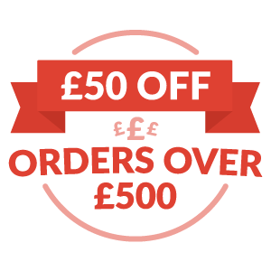 Save £50 on all orders over £500 until Saturday 30th September