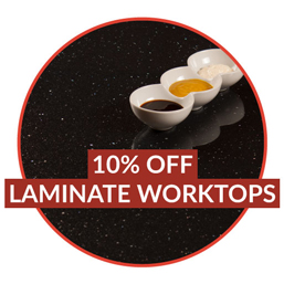 Save 10% when you buy laminate kitchen worktops before Monday 15th May.