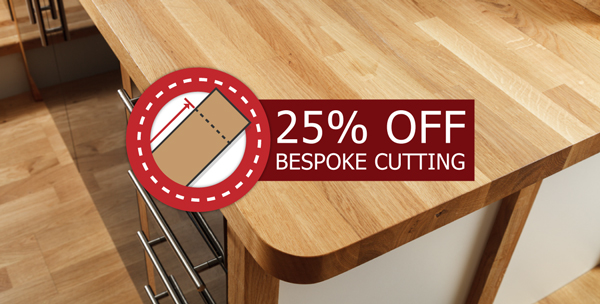Save 25% on customisation of wooden worksurfaces.