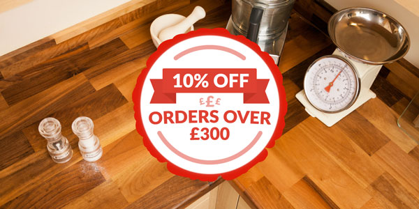 Worktop Express sale banner with a wooden worktop and baking equipment