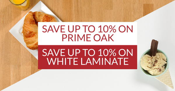 : Save up to 10% on Prime Oak and white laminate worktops this October.